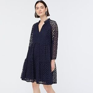 J crew tiered popover dress navy blue embroidered